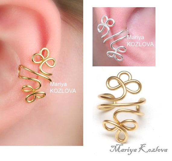 Conch Ear Cuff Celtic Clover Klee Shamrocks/cartilage earcuff/fake faux piercing/ear jacket manchette/ohrklemme ohrclip/ear sweep crawler