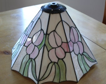 Vintage Stained Glass Lamp Shade Floral Design Colors In Cream Green Pink