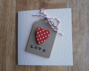 Love Label card.Individually handmade love card suitable for any occasion