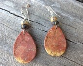 Custom Order for Terry: Large Rusty Brown Jasper Dangle Earrings