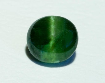 1.36ct- 6.5mm Rare Green Cats Eye Diopside Round Cabochon Loose Gemstone from Sri Lanka.