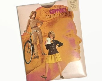 Vintage Panty Hose - Tan - NOS Unused Deadstock - 70s 1970s - Nylon Tights - Vintage Lingerie - Hosiery