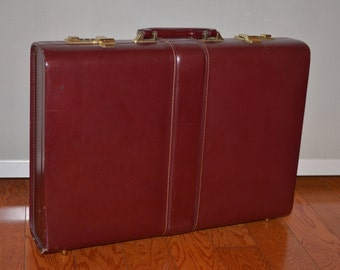 Maroon Briefcase, Vintage Briefcase, Leather Case, Lotter Briefcase, Small Suitcase, Carry On, Laptop Bag, iPad Case
