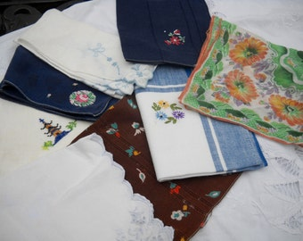 Vintage Hankies, Eight, Great for Crafting
