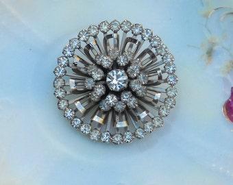 Vintage Rhinestone Pin, Starburst Design, Clear Stones, Beautiful