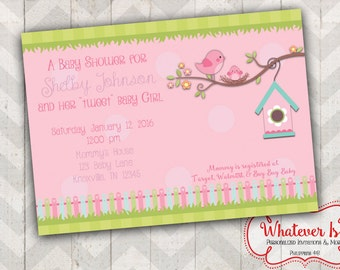 Little Birdie Baby Shower Printable Invitation