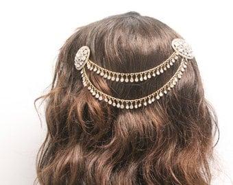 Gold Wedding hair vine,Gold Bridal hair accessories down,Wedding hair chain bun,Bridal hair piece,Wedding hair jewelry,Bridal hair chain
