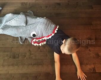 CHILD sized Crochet SHARK Blanket - Canadian Made - worldwide shipping - Hadley Paige Designs - Summer - kids - Beach Pool
