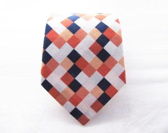 Men's Necktie - Coral & Navy Pixelate