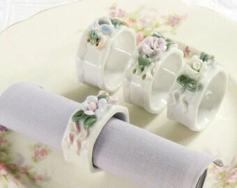 Vintage Porcelain Flowers Napkin Rings, Set of 4, Tea Parties, Cottage Style, Wedding, Romantic French Farmhouse