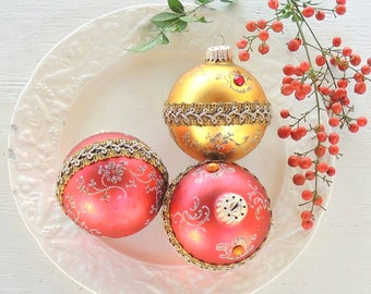 West Germany Red and Gold Hand Blown Glass Ornaments Set of 3 Christmas Mercury Glass, Tree Trimming Antique