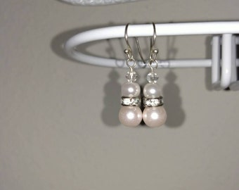 Pale Blush Glass Pearl Earring Pair