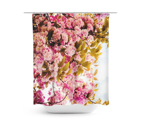 Pink floral shower curtain Extra long shower curtain