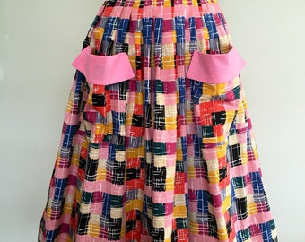 50s Style Pleated Skirt colourful vintage inspired cotton fabric. Small