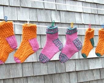 Knitting Pattern – Partridge & Twisted Rib Socks, children's boy's girl's kids thick wool fast PDF knit sock pattern