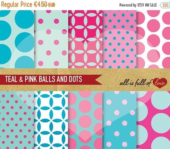 80% OFF Digital Scrapbooking TEAL PINK Paper Pack Balls Polka Dot Background Printable 12/15