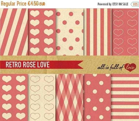 80% OFF Valentines Paper Pink Digital Scrapbooking Paper Vintage Rose Pink Heart Printable Background Valentines Graphics  01/16