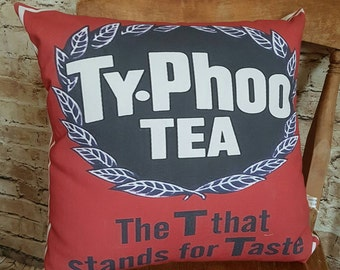 FREE UK POSTAGE Handmade Vintage Style Typhoo Tea Square Cushion With Or Without Inner
