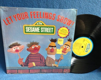 "RARE, Vintage, ""Sesame Street Let Your Feelings Show"", Vinyl LP, Record Album, Childrens, Original 1977, Proud Of Me, Grover, Bert And Ernie"