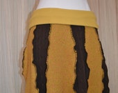 Upcycled School girl skirt....Mustard and brown....size small....