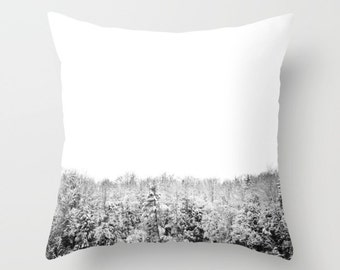 Snow Kissed Treetops: Muskoka, Canada - Throw Photo Pillow Cover; Travel Photography [black & white  antler deer owl fox winter woodland]
