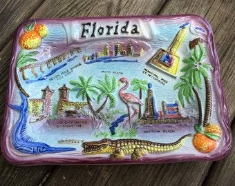 Vintage Florida Souvenir Wall Plaque - Key West, Miami, St Petersberg, St Augustine, Daytona Beach - Flamingo, Oranges, Palm Trees