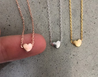 Little Gold Heart Necklaces, Heart Jewelry, Personalized jewelry, valentines jewelry, wedding jewelry, flower girl necklace, heart jewelry