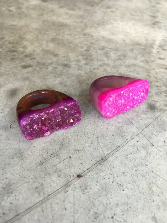 Druzy Quartz Rings, boho jewelry