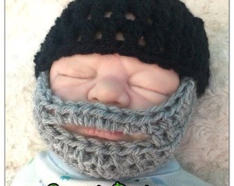 Baby boy grey beard hat crocheted knitted hippie hippy, slouch or fitted beanie unique designer kids newborn shower gifts bearded black  cap