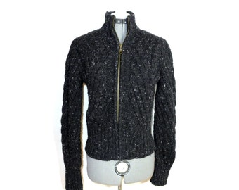 Alpaca zip front sweater - jacket windbreaker marled cable knit fisherman style ladies fitted S wool blend