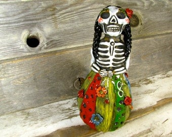 Ceramic Day of the Dead Figurine handmade pottery