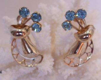 Turquoise Blue Rhinestone and Gold Filigree Screw Back Earrings