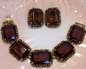 Florenza Amber Brown Faceted Bracelet and Clip Earrings Demi Parure Unmarked
