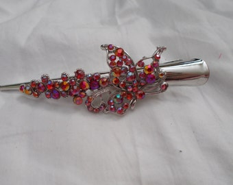 Stunning Crystal Hair Clip-Duck Bill-Red Butterfly
