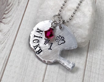 Football Mom Necklace - Football Necklace - Football Jewelry - Hand Stamped Necklace - Personalized Necklace - Football Helmet Necklace
