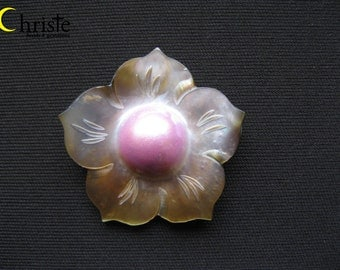 Hibiscus B Flower Carved Blister Pink Mabe Pearl Cabochon 40mm