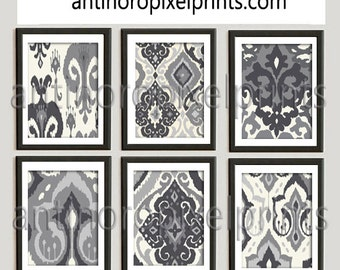 Ikat Damask Pictures Charcoal Greys Ivory Creme Picture Art Collection Set of (6) 8x10  Wall Art Prints (Unframed) #252772608