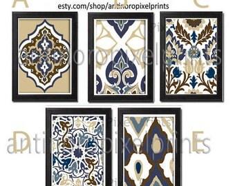 Art Print Ikat Wall Art  - Set of (3) 8x10 Choose any 3 Prints, Featured in Slate Blue Khaki Navy #258731828