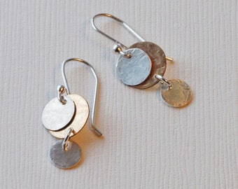 Silver & Gold Disc Earrings, Drop Earrings, Everyday Dangles, Gold Drops, Short Dangles, Dainty Drop Earrings, Little Drop Earrings