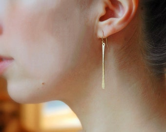 Long Gold Bar Earrings, Silver Dangle Earrings, Sexy Earrings, Everyday Earrings, Long Bar Earrings, Silver Dangles, Dainty Gold Dangles