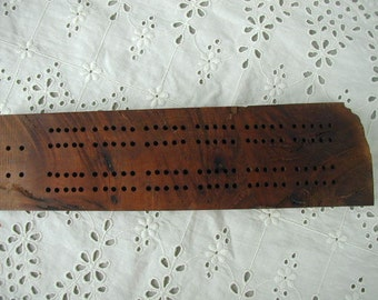 Vintage Naturalistic Hand Made Cribbage Board, Solid Hard Wood, Natural Edge, Gorgeous Burl Wood