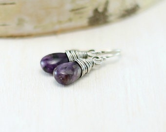 Charoite Earrings, Oxidized Sterling Silver Purple Stone Earrings Wire Wrapped Dangle Earrings Charoite Jewelry