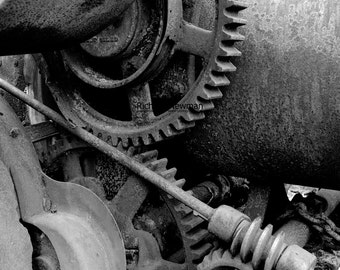 Black and White, Gears, wall art, industrial decor, logging equipment,  photograph