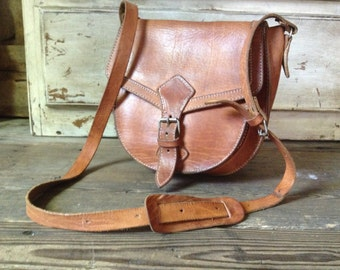 Brown Leather Satchel, Leather Purse, Saddle Bag Vintage, Greece Crossbody Messenger