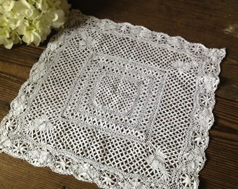 French Bobbin Lace Doily Heirloom Hand Worked Creamy White Table Mat
