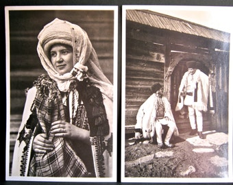 Romanian Postcards x 2, Antique/Early 20th Century - Peasant Woman, Transylvania - Carpathian Peasants