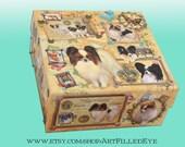 Embellished Decorative Papillon Dog Storage Box Ephemera Decoupaged Jewelry-Trinket-Keepsake-Memorial-Trinket-Photograph-ART-Artwork-GIFT