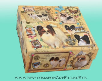 Embellished Decorative Papillon Dog Storage Box Ephemera Decoupaged Jewelry-Keepsake-Memorial-Trinket-Photograph-ART-Artwork-GIFT