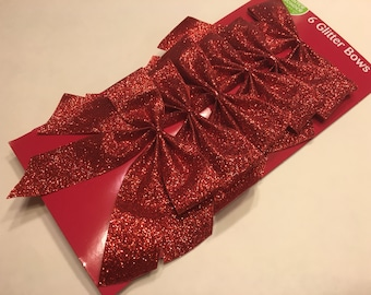 6 small red glitter bows (BR)