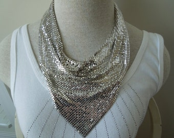 Vintage Whiting and Davis Scarf Necklace, Silver Toned, Famous Maker, Excellent Condition.